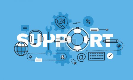 Illustration pour Concept moderne de conception de ligne mince pour la bannière de site Web de soutien. Concept d'illustration vectorielle pour le contact et la communication, support en ligne, centre d'aide, service 24 h / 24 . - image libre de droit