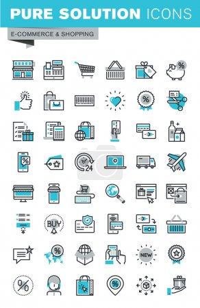 Modern thin line flat design icons set of online shopping, online payment and security, product delivery, customer support