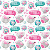 Seamless pattern with cute birds abstract flowers words hello and friends and hearts
