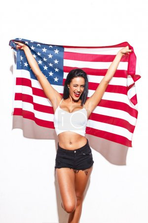Sexy woman with big tits and USA flag