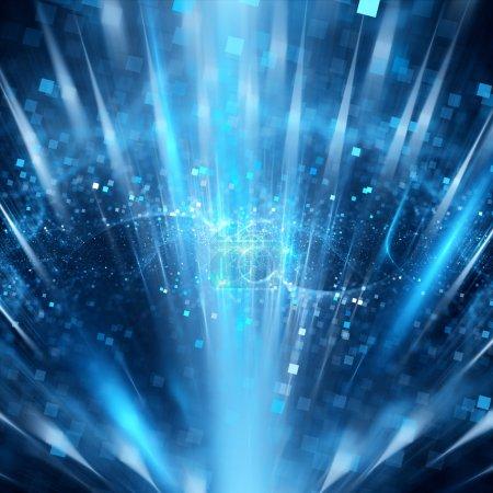 Photo pour Particules bleues magiques dans l'espace, fond abstrait généré par ordinateur - image libre de droit