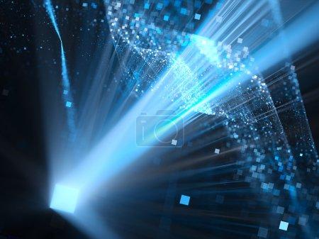 Photo pour Carré lumineux de dimension bleue dans l'espace, fond abstrait généré par ordinateur - image libre de droit