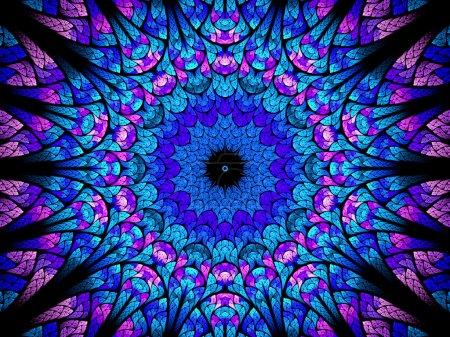 Photo pour Kaléidoscope oriental fractal, fond abstrait généré par ordinateur - image libre de droit