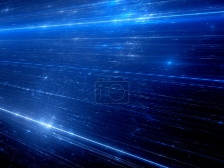 Photo pour Lignes bleues rayonnantes, technologie, science et avenir, fond abstrait généré par ordinateur - image libre de droit
