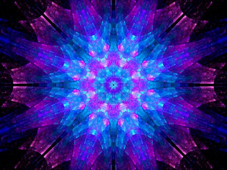 Multicolored futuristic mandala artwork in space