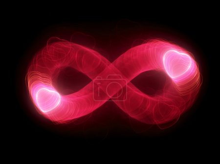 Two glowing hearts in infinity sign