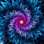 Magical glowing space fractal flower, computer gen...
