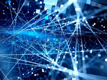 Photo pour Lignes de connexion bleues lumineuses avec particules, nouvelles technologies, mégadonnées, fond abstrait généré par ordinateur - image libre de droit
