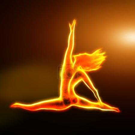 Fiery ballerina jumping fractal with light