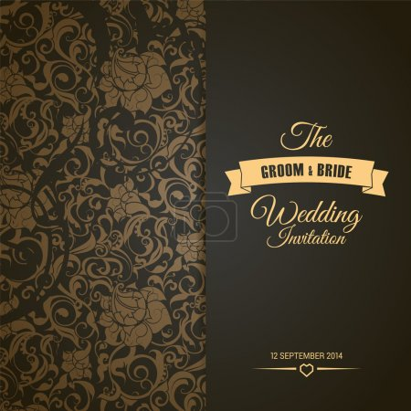 Illustration for Wedding invitation card editable with background chevron - Royalty Free Image