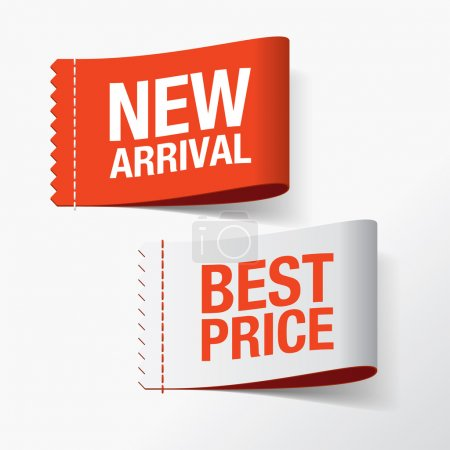 Illustration for New arrival and best price labels - Royalty Free Image