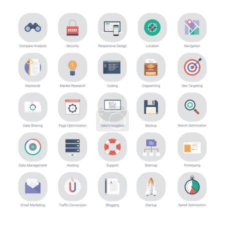 Flat set of marketing, seo optimization and web development icons