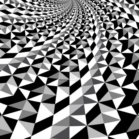 Black and white optical illusion triangle vector pattern, background, texture
