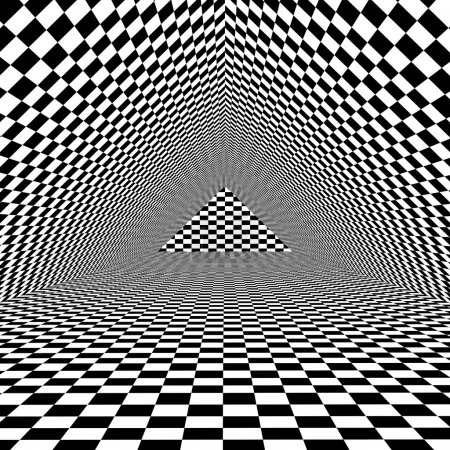 Black and white optical illusion triangle background