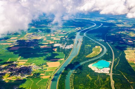 The Rhine and The Grand Canal of Alsace at Fessenheim as seen from an airplane
