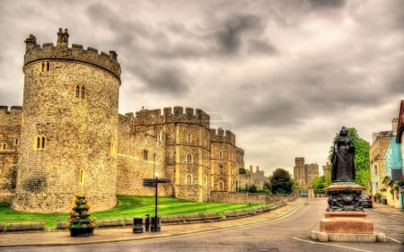 Photo for Statue of Queen Victoria and walls of Windsor Castle - England - Royalty Free Image