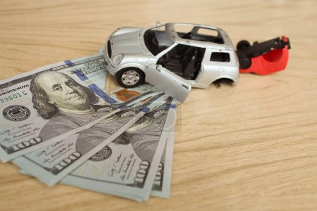 Accident two cars on a background of money