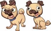 Angry and happy pug