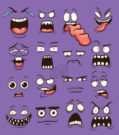 Illustration pour Drôle de visages de dessin animé. Illustration de clip art vectoriel avec des dégradés simples. Chacun sur un calque séparé . - image libre de droit