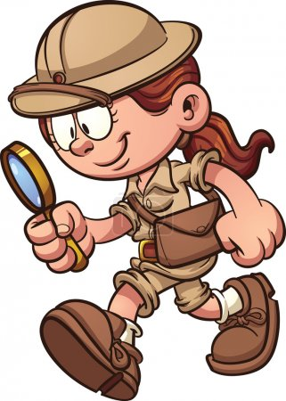 Illustration for Cartoon safari girl looking through a magnifying glass. Vector clip art illustration with simple gradients. All in a single layer. - Royalty Free Image