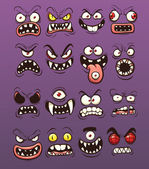 Cartoon scary and funny monster faces Vector clip art illustration with simple gradients Each on a separate layer