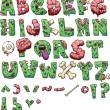 Zombie letters and symbols. Vector clip art illust...