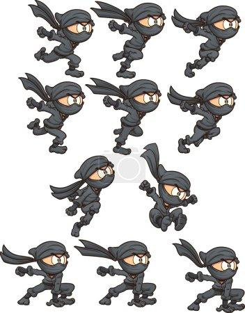 Cartoon ninja ready for animation. Vector clip art...