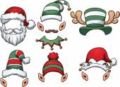 Cartoon Christmas hats Vector clip art illustration with simple gradients Each on a separate layer