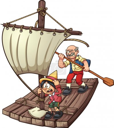 Pinocchio on a raft
