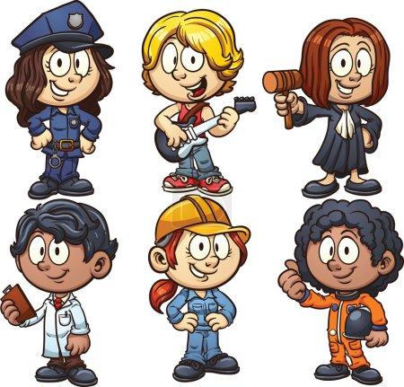 Illustration pour Enfants utilisant des costumes pour différentes professions. Illustration de clip art vectoriel avec des dégradés simples. Chacun sur un calque séparé . - image libre de droit