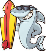 Cartoon shark with a bitten surfboard Vector clip art illustration with simple gradients All in a single layer