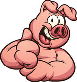 Cartoon pig with thumb up Vector clip art illustration with simple gradients All in a single layer