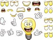 Cartoon lightbulb character Vector clip art illustration with simple gradients Each element on a separate layer