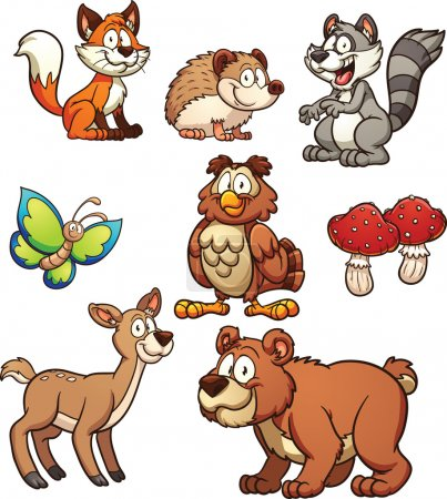 Illustration for Cartoon forest animals. Vector clip art illustration with simple gradients. Each on a separate layer. - Royalty Free Image