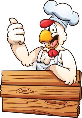 Illustration pour Chef de poulet dessin animé avec une pancarte en bois. Illustration de clip art vectoriel avec des dégradés simples. Le tout en une seule couche . - image libre de droit