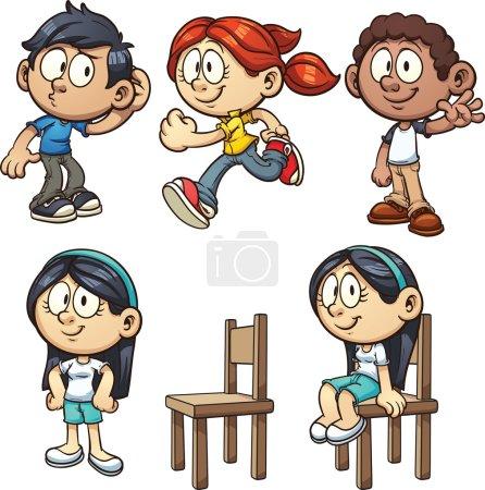 Illustration pour Cartoon enfants effectuant différentes actions. Illustration de clip art vectoriel avec des dégradés simples. Chacun sur un calque séparé . - image libre de droit