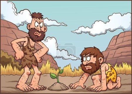 A couple of cartoon cavemen