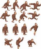 Cartoon gorilla actions