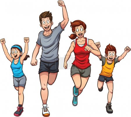 Cartoon running family