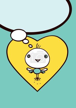 Illustration pour Cœurs jaunes et petits oiseaux sur fond bleu - ballons de message - image libre de droit