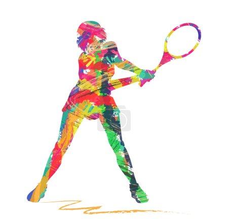 Illustration pour Silhouette abstraite de joueur de tennis sur fond blanc - image libre de droit