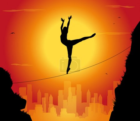 Illustration for Silhouette of dancer tightrope walker and city - Royalty Free Image