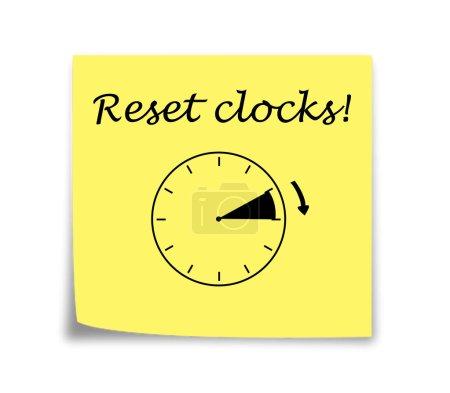 Photo pour Rappel de note collante pour mettre les horloges en avant noir sur jaune - image libre de droit