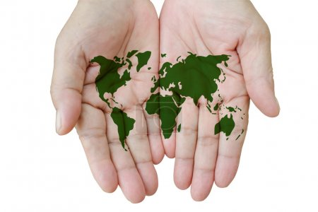 Map of the world in your hands isolated on white....