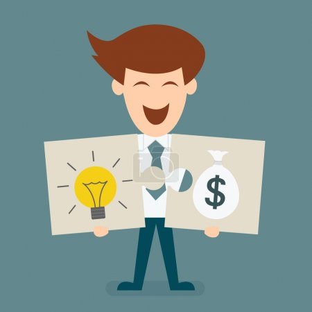 Illustration for Businessman holding two jigsaw pieces concept of light bulb and money - Royalty Free Image