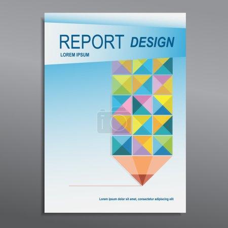 Cover Annual report, colorful pencil design, vector illustration