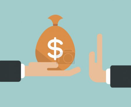 Businessman hand refusing the offered bribe money bag vector ill