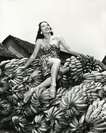 Sitting pretty on a pile of bananas