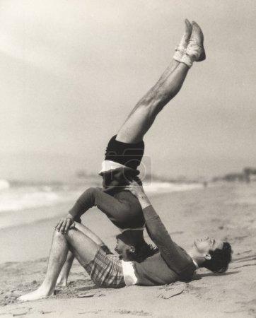 Young men exercising