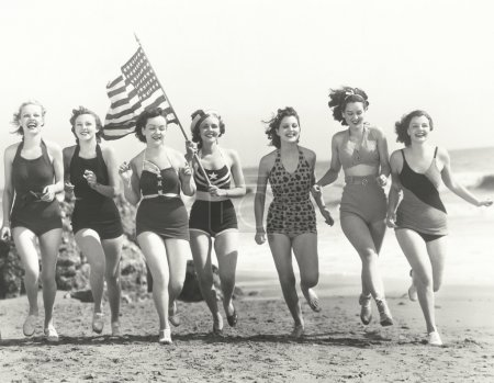 Patriotic women at the beach
